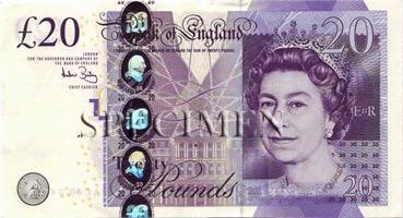 20 Livre - Recto - Angleterre
