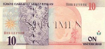 10 Livre - Verso - Turquie